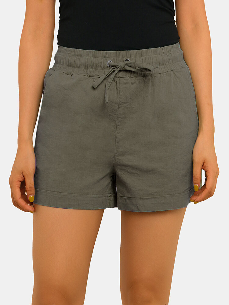 Women Pure Cotton Linen Drawstring Shorts With Pockets Breathable Outdoors Home Loungewear Bottoms