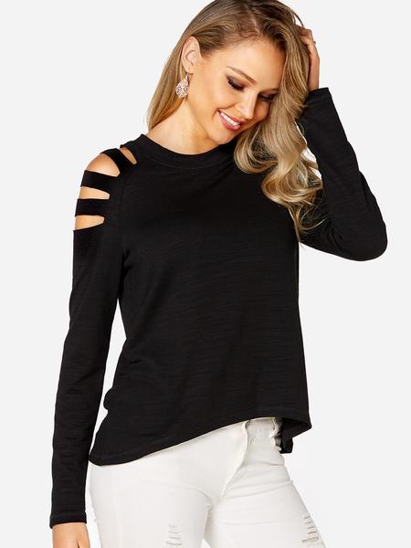 Yoins Black Cut out Design Cold Shoulder Long Sleeves T-shirt