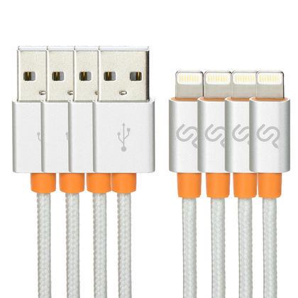 1m câble lightning nylon tressé avec tête aluminium certifié Apple MFi 3P, argent - PrimeCables® - 4/paquet