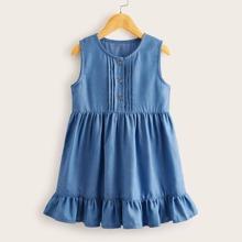 Toddler Girls Button Front Ruffle Hem Denim Dress