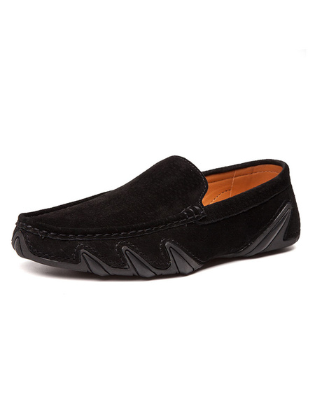 Milanoo Mens Moccasin Loafers Slip-On Round Toe Suede Driving Shoes