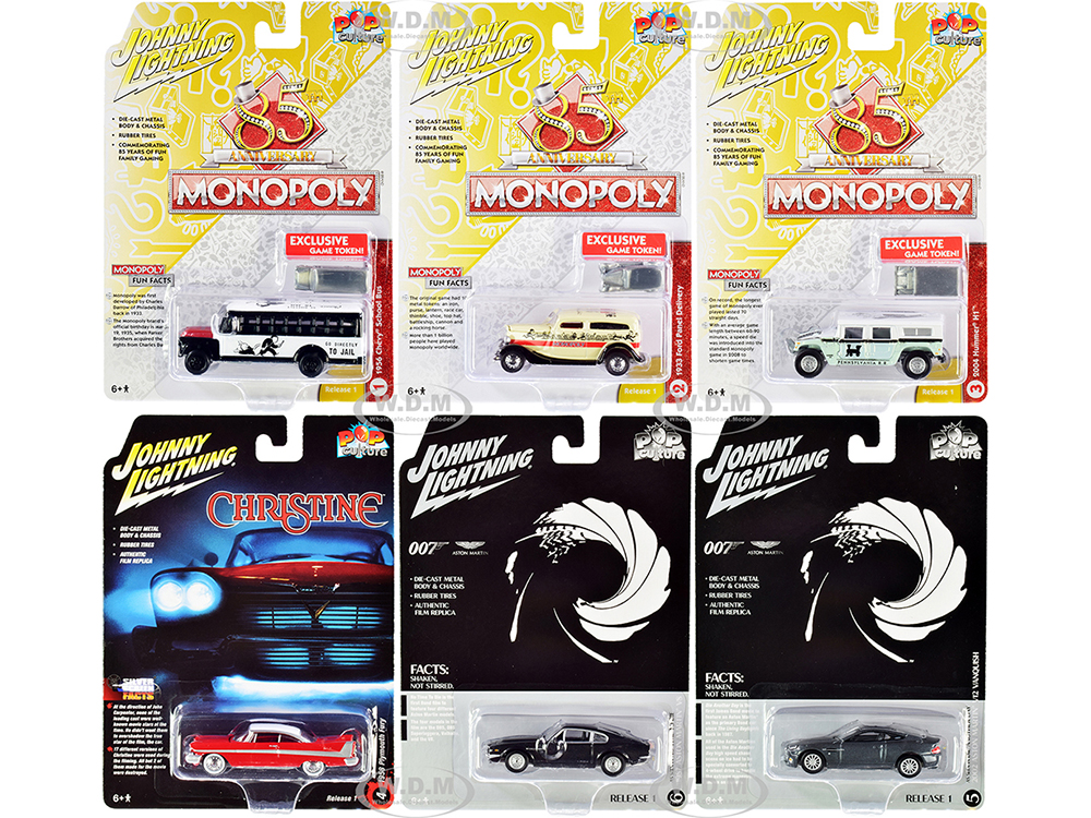 Pop Culture 2020 Set of 6 Cars Release 1 1/64 Diecast Model Cars by Johnny Lightning