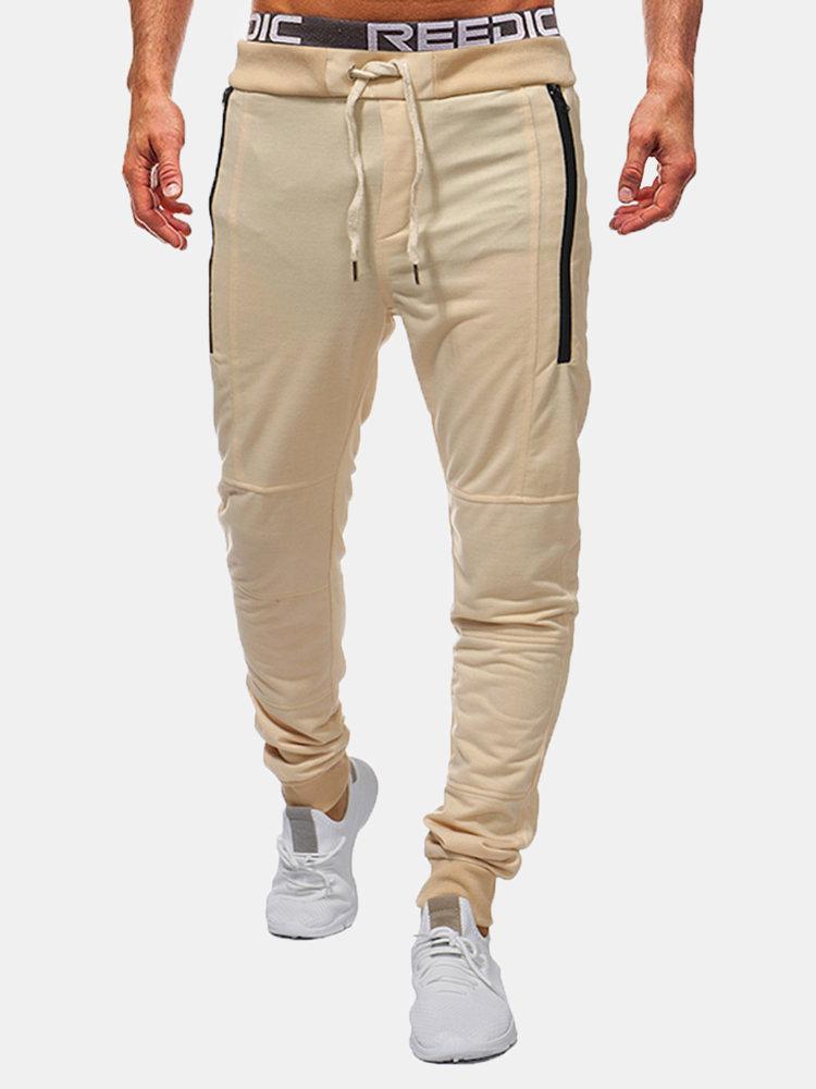 Skinny Elastic Waist Drawstring Double Zipper Casual Sport Cotton Trousers for Men