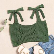Tie Shoulder Pointelle Knit Top