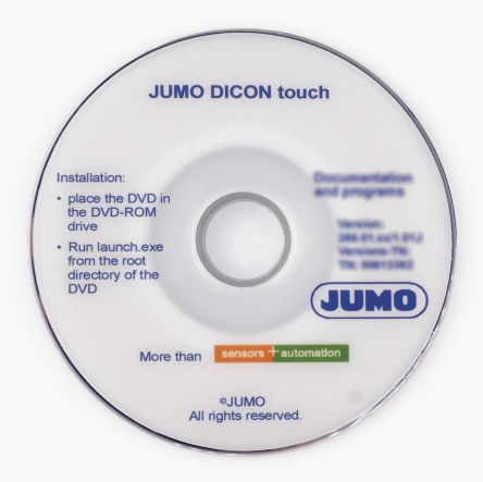 Jumo Windows Temperature Control Software for use with  Dicon Touch B703571.0