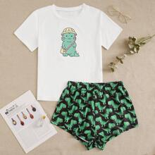 Cartoon Dinosaur Print PJ Set