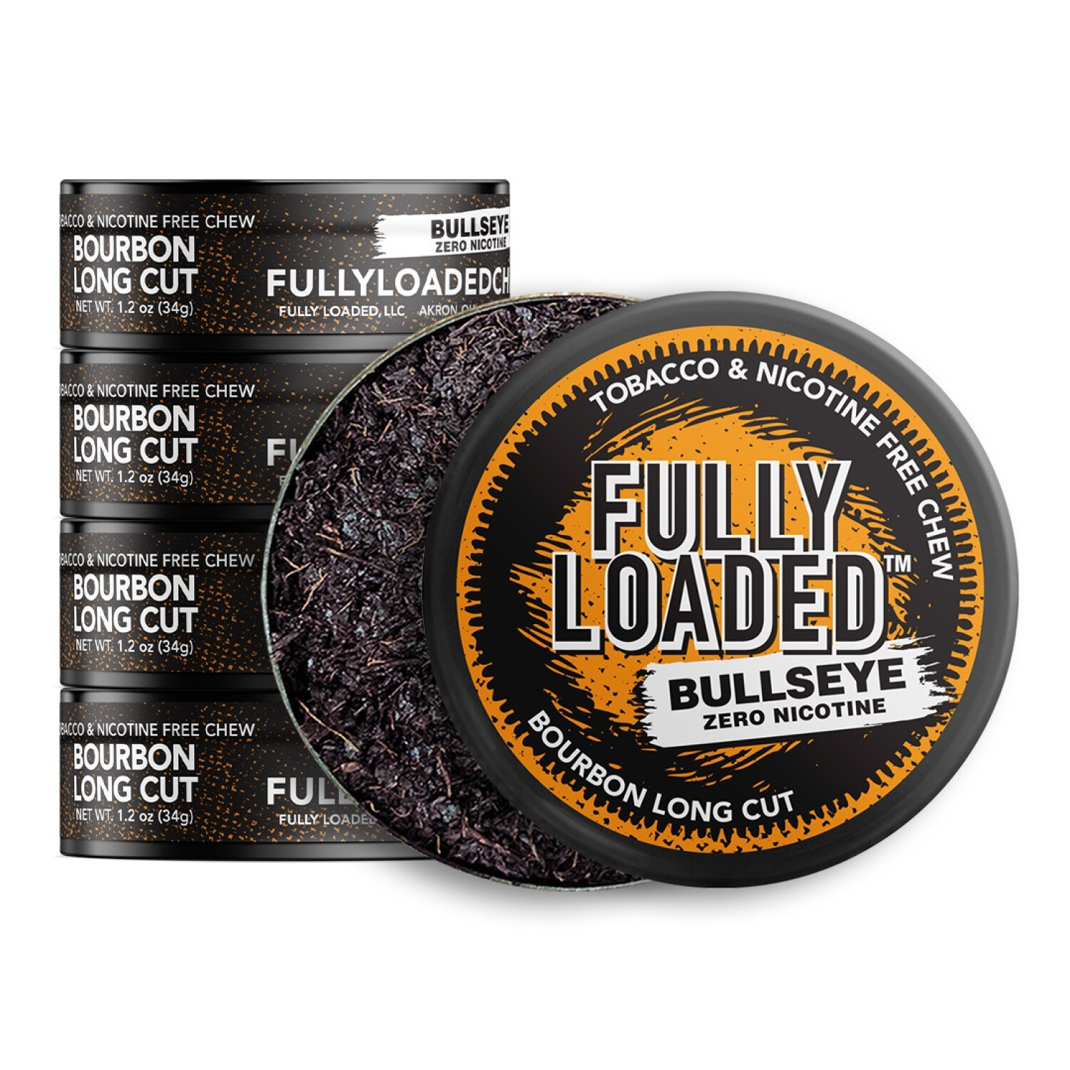 Fully Loaded Chew Tobacco and Nicotine Free Bourbon Bullseye Long Cut Unique Flavor, Chewing Alternative-5 Cans