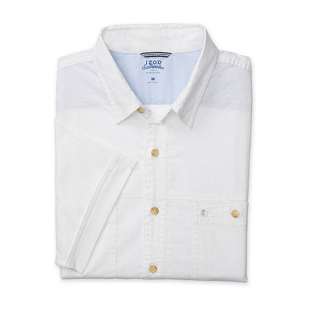 IZOD Big and Tall Mens Short Sleeve Cooling Button-Down Shirt, 4x-large Tall , White