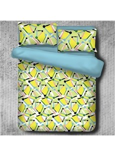 Yellow Spotted Flashbulb Printed Modern Style Polyester 4-Piece Bedding Sets/Duvet Cover