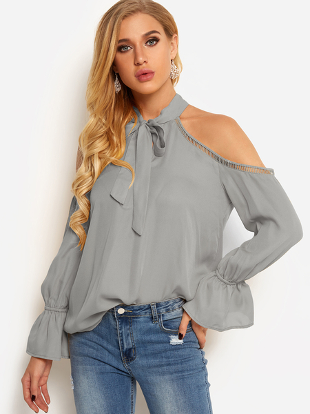 Yoins Grey Cold Shoulder Self-tie Front Plain Hollow Details Blouses
