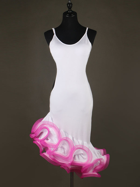 Milanoo Dance Costumes Latin Dancer Dresses White Strappy Sleeveless Ruffle Dress Women's Dancing Clothing Hallloween