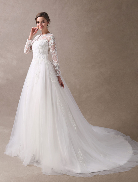 Milanoo Wedding Dresses Princess Ball Gowns Ivory Long Sleeve Lace Applique Beading Chapel Train Bridal Dress