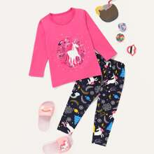 Toddler Girls Unicorn & Plants Print PJ Set
