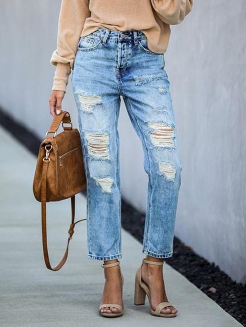 Ericdress Hole Mid Waist Slim Jeans
