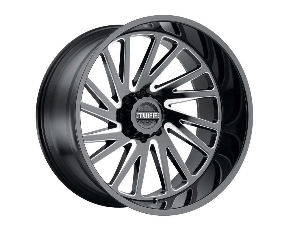 TUFF T2A Wheel 26x14 5x127|5x5 -72mm Gloss Black w/ Milled Spoke