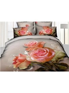 3D Blooming Pink Roses Printed Cotton 4-Piece Bedding Sets/Duvet Covers