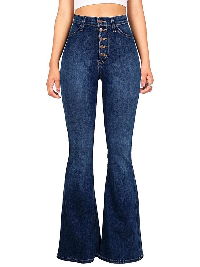 Ericdress Button Bellbottoms Button Women's Slim Jeans