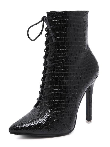 Milanoo Women Ankle Boots Croco Print Pointed Toe Stiletto Heel 4.1 Booties