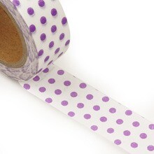White/Lavender Dot Foil Washi Tape Colored - 9/16 X 10 Yards - Shipping Supplies by Paper Mart