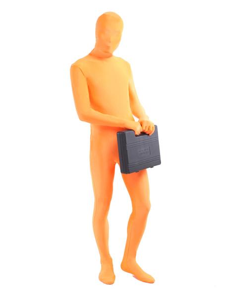 Milanoo Morph Suit Orange Lycra Spandex Fabric Zentai Suit Unisex Full Body Suit