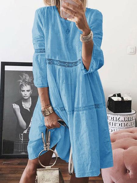 Milanoo Blue Shift Dresses Jewel Neck 3/4 Length Sleeves Tube Dress