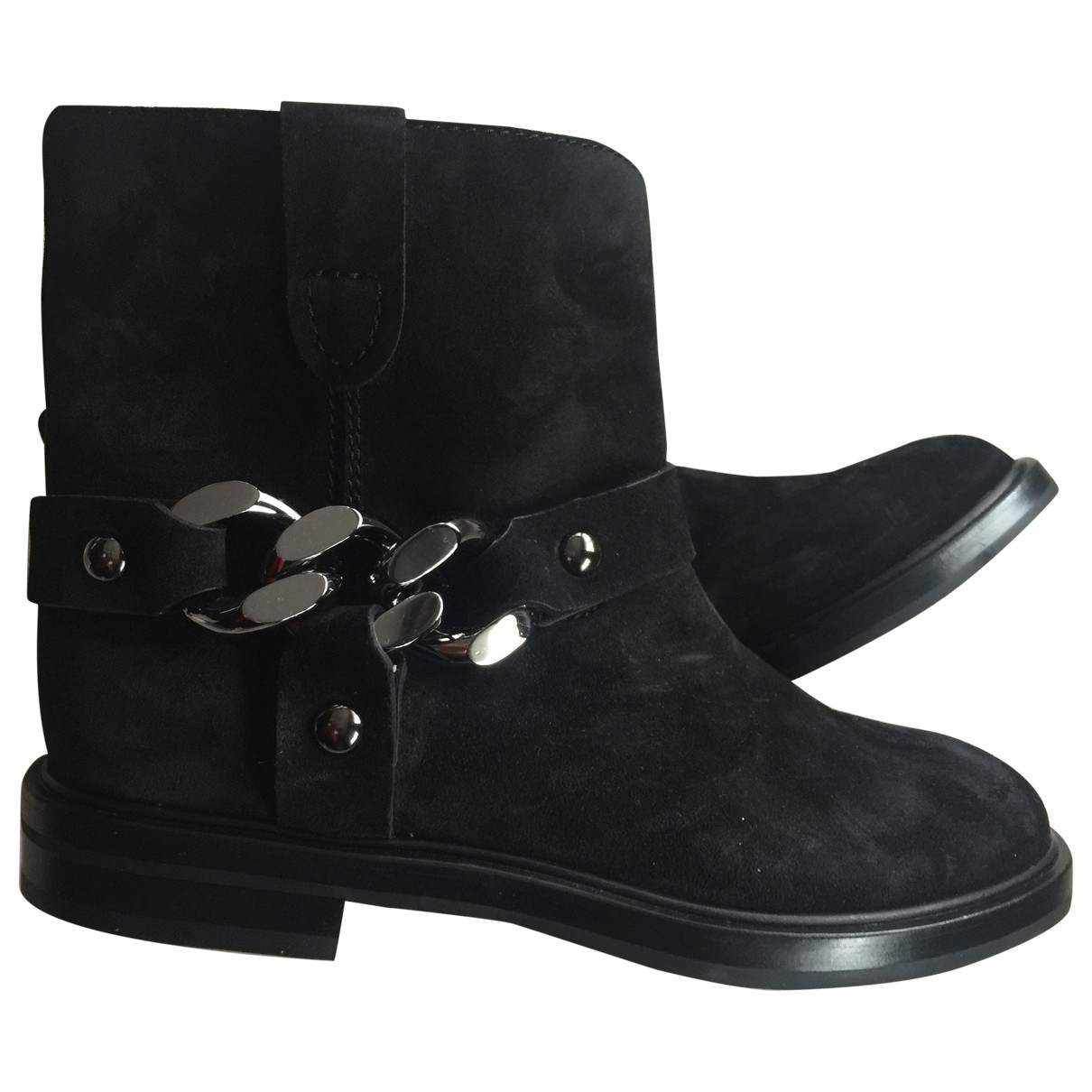 Casadei \N Black Leather Ankle boots for Women 38 EU