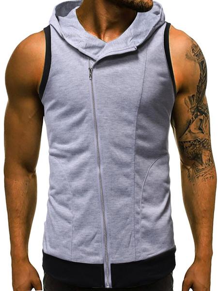 Milanoo Men Sleeveless Hoodie Deep Grey Zip Up Slim Fit Cotton Sweatshirt