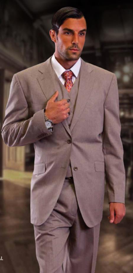 Classic 3pc 2 Button Tan Suit Supers 1 Pleat Pants Italian Fabric