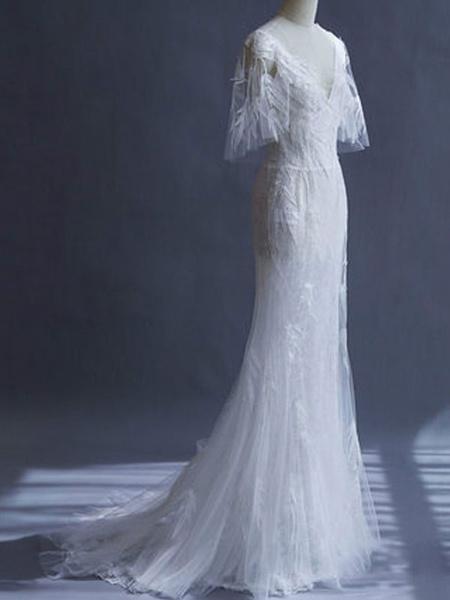 Milanoo Wedding Dresses 2020 Sheath Sihouette Half Sleeve V Neck Floor Length Bamboo Leaf Lace Bridal Gown