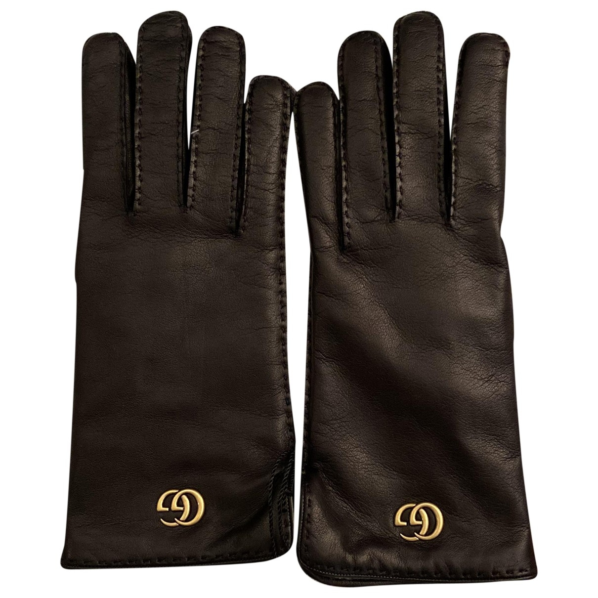 Gucci \N Black Leather Gloves for Women 8 Inches