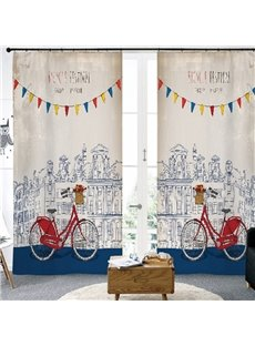 3D Modern Style Sketch Buildings and Bicycles Printed Custom Semi Blackout Curtains