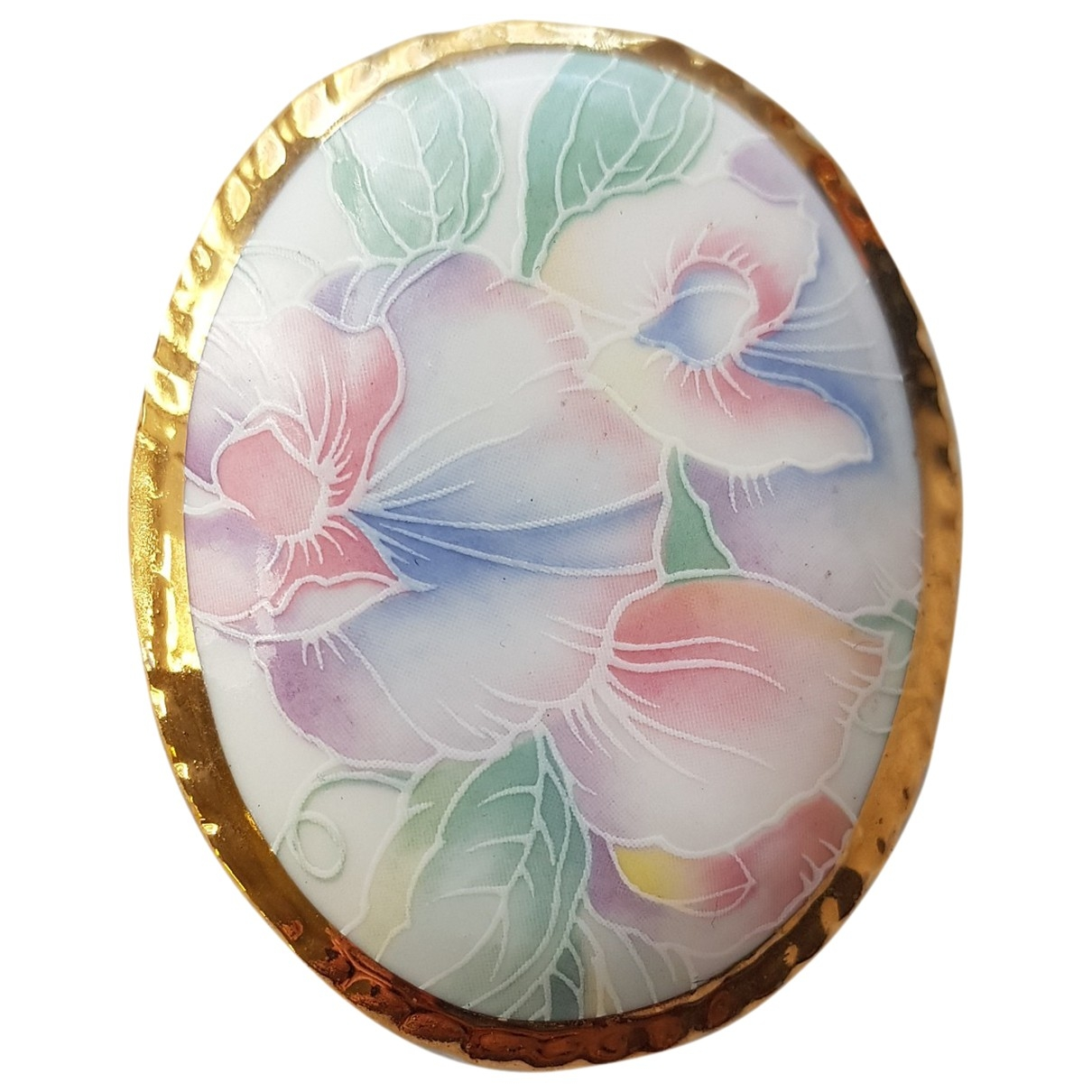 Non Signé / Unsigned Motifs Floraux Multicolour Ceramic Pins & brooches for Women \N