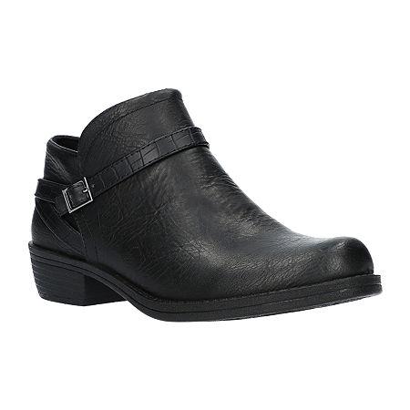 Easy Street Womens Peony Booties Block Heel, 6 1/2 Medium, Black