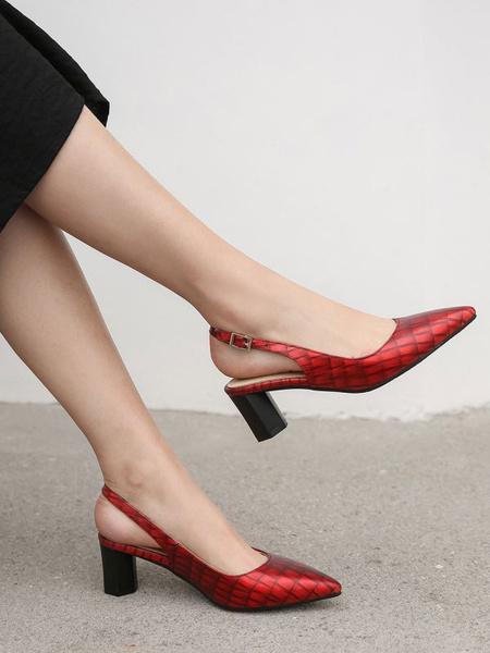 Milanoo Mid-Low Heels For Women Simple Pointed Toe Chunky Heel Slip-On Elegant Black Pumps Heels