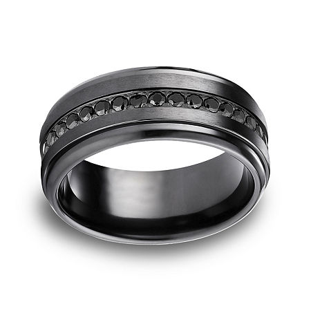 Mens Comfort Fit 9mm Black Titanium and Cubic Zirconia Wedding Band, 12 1/2 , No Color Family