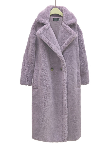 Milanoo Faux Fur Coats Pink Turndown Collar Long Sleeve Front Button Winter Coat