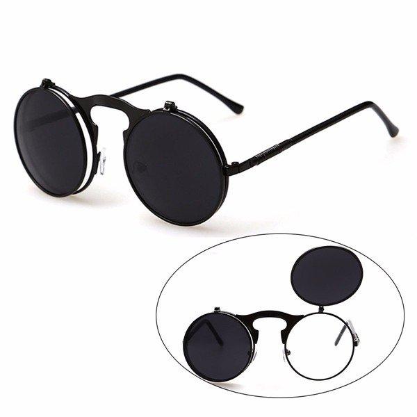 Men Women Vintage Round Metal Flip Up Lens Sunglasses Eyewear
