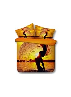 Girl Splashing Hair in Sun and Sea Printed 3D Cotton 4-Piece Bedding Sets/Duvet Covers