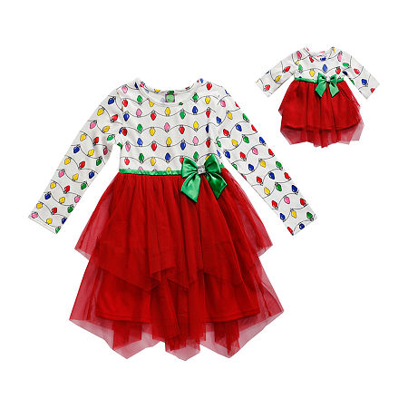 Dollie And Me Big Girls Long Sleeve Party Dress, 10 , Red