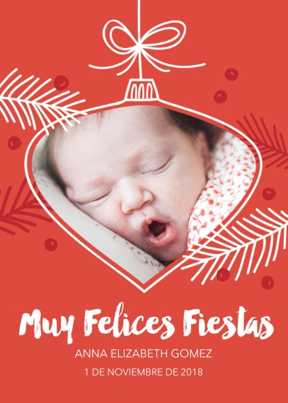 Tarjetas de Navidad Flat Glossy Photo Paper Cards with Envelopes, 5x7, Card & Stationery -Sweetest Ornament Ever - Spanish
