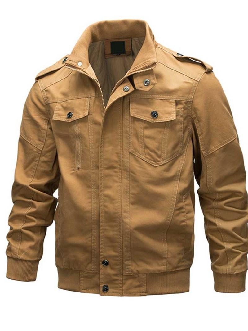 Ericdress Plain Color Pocket Stand Collar Casual Men's Loose Jacket
