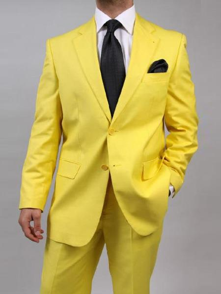 Mens Two Button Yellow Suit Separate Any Size Jacket & Pants