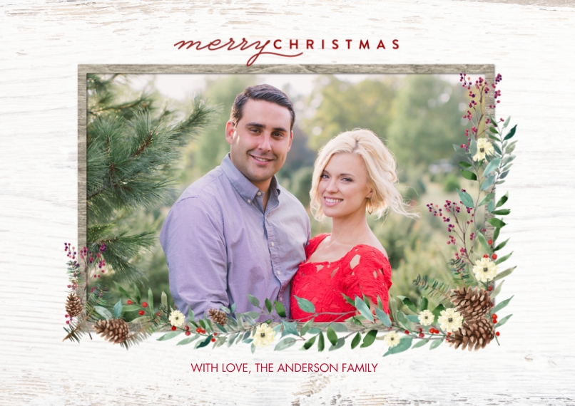 Christmas Photo Cards Flat Matte Photo Paper Cards with Envelopes, 5x7, Card & Stationery -Christmas Frame Foliage by Tumbalina