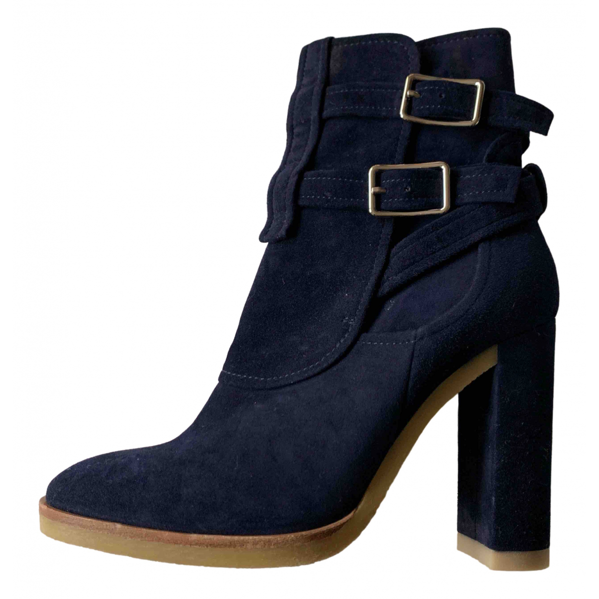Gianvito Rossi \N Navy Suede Ankle boots for Women 38 EU