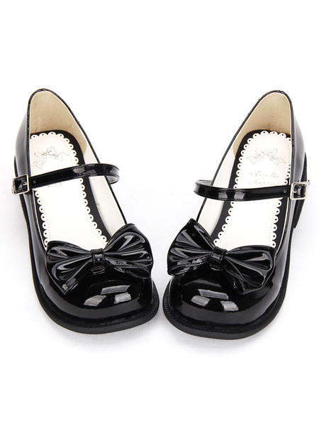 Milanoo Sweet Lolita Shoes Black Bow Chunky Heel Round Toe Ankle Strap Mary Jane Shoes