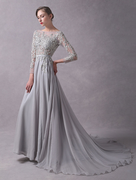 Milanoo Evening Dresses Light Grey Backless Long Sleeve Lace Applique Beaded Illusion Sash Formal Dresses With Train