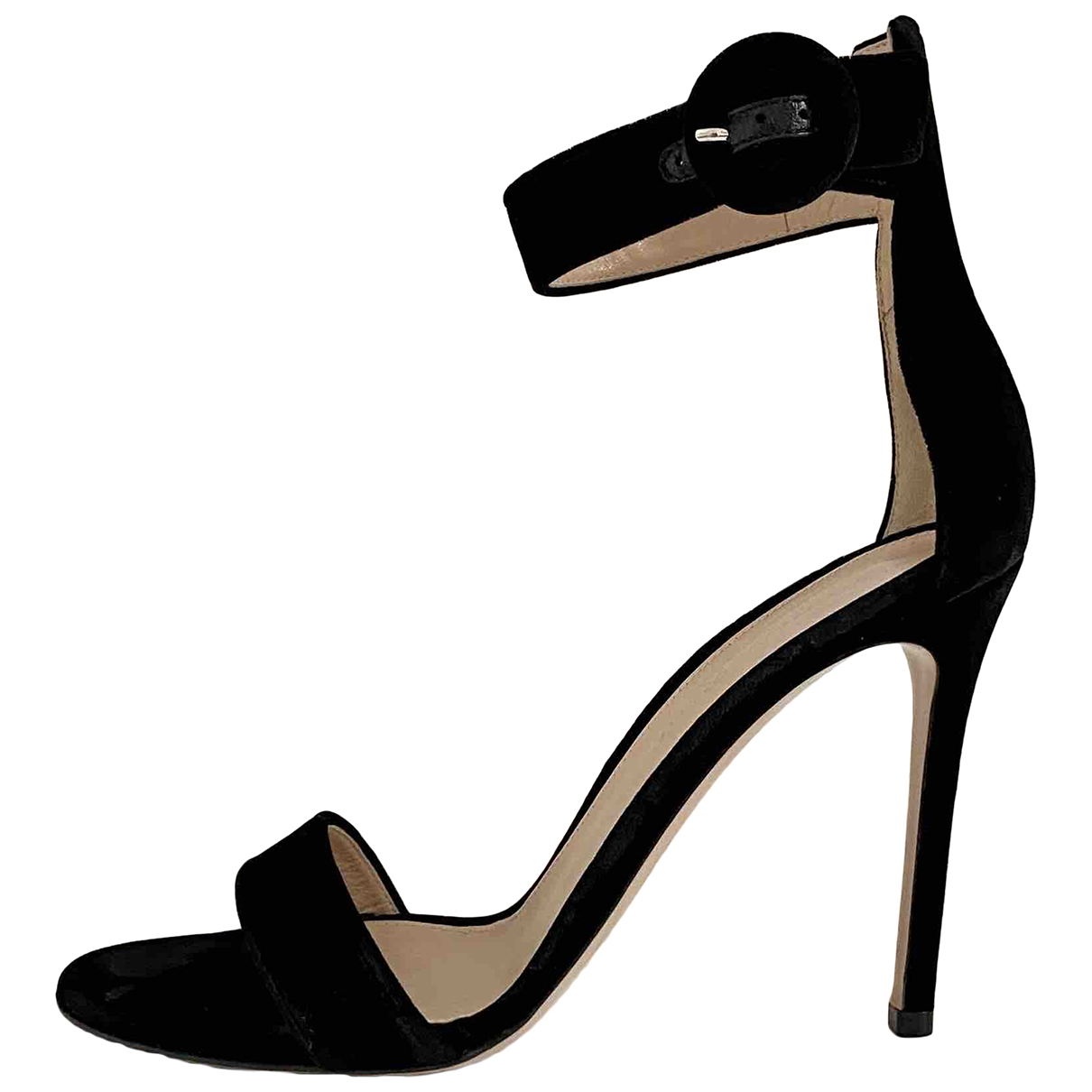 Gianvito Rossi Portofino Black Suede Sandals for Women 37.5 EU