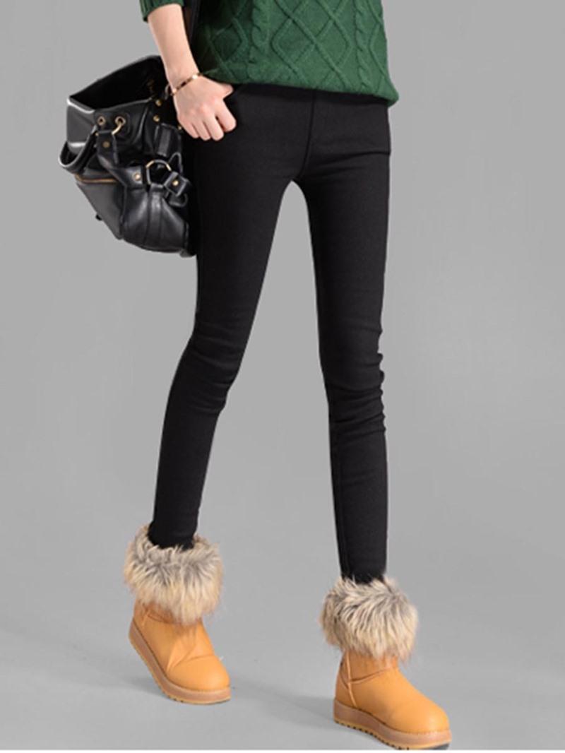 Ericdress Plain Patchwork Pocket Fleece Women's Leggings Pants