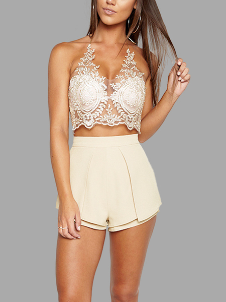 Yoins High-rise Overlay Pleated Shorts in Apricot