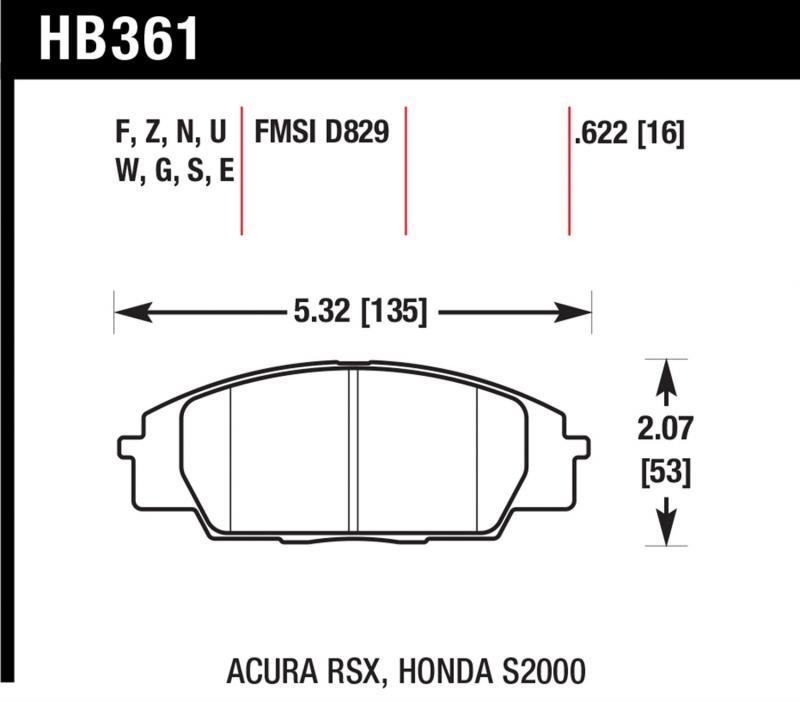 Hawk Performance HB361Z.622 Disc Brake Pad Front